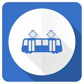 picture of tram  - tram blue flat icon public transport sign  - JPG