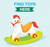 foto of wooden horse  - cute wooden rocking toy horse banner - JPG