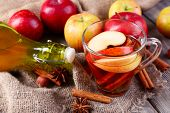 pic of cider apples  - Apple cider with cinnamon sticks - JPG
