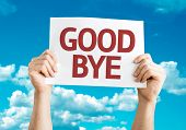 stock photo of say goodbye  - Goodbye card with sky background - JPG