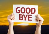 stock photo of goodbye  - Goodbye card with sunset background - JPG
