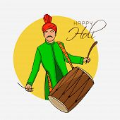 picture of indian  - Young Indian man in traditional outfits playing drum on occasion of Indian festival of colors - JPG