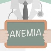 stock photo of hemoglobin  - minimalistic illustration of a doctor holding a blackboard with Anemia text - JPG