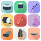 image of drum-set  - A set of drum icons - JPG