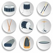 stock photo of drum-set  - A set of drum icons - JPG