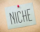 image of niche  - Recycled paper note pinned on cork board - JPG