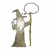 pic of clip-art staff  - cartoon old wizard with thought bubble - JPG