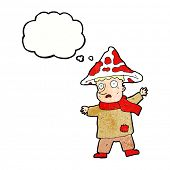 stock photo of magical-mushroom  - cartoon magical mushroom man with thought bubble - JPG