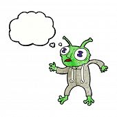 stock photo of spaceman  - cartoon alien spaceman with thought bubble - JPG
