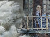 picture of storms  - Young blonde woman on the sea storm - JPG