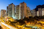 image of overpopulation  - Kowloon with lion rock at night - JPG