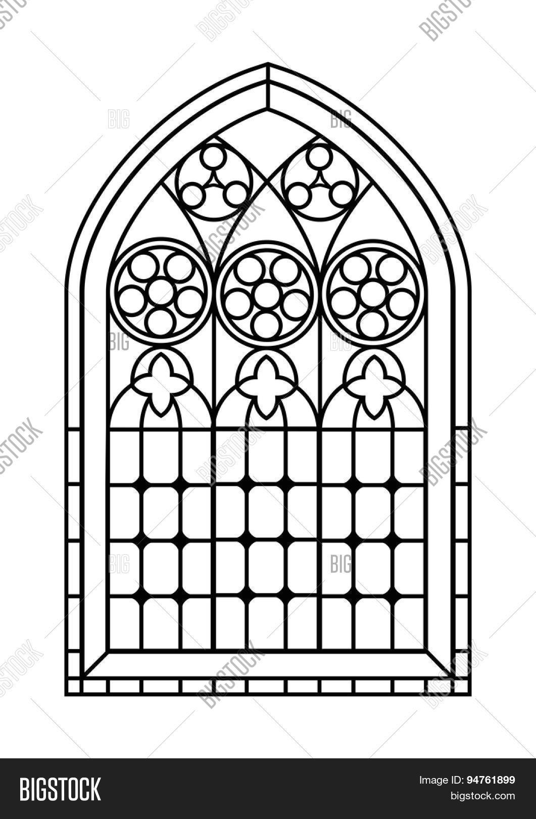 Gothic Style Stained Glass Window Vector & Photo | Bigstock