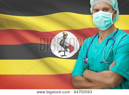 Surgeon With Flag On Background Series - Uganda