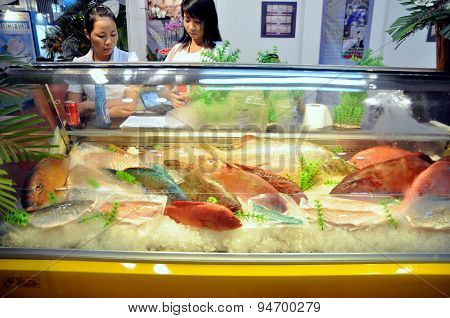 Ho Chi Minh City, Vietnam - June 28, 2011: A Seafood Booth In The Vietfish International Seafood Sho