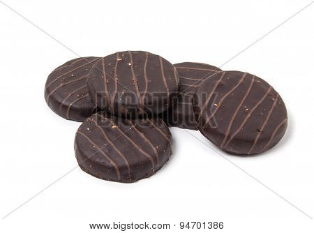 Cookies In Chocolate Glaze. Isolated On White Background