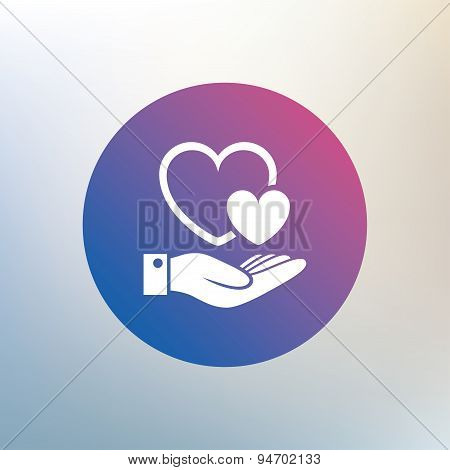 Hearts and hand sign. Palm holds love symbol.