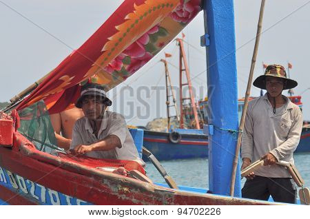 Nha Trang, Vietnam - March 15, 2012: Fishermen On A Fishing Boat Are Ready To Go Offshore For A Bett