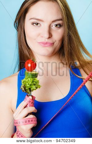 Sporty Girl With Vegetarian Food.