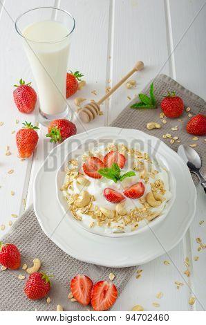 Domestic Yogurt With Strawberries
