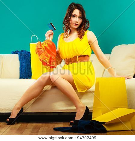 Woman With Credit Card Doing Shopping