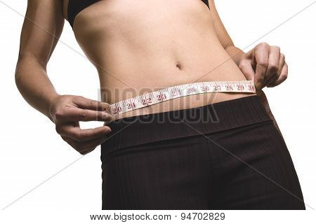 measure attractive young caucasian woman isolated