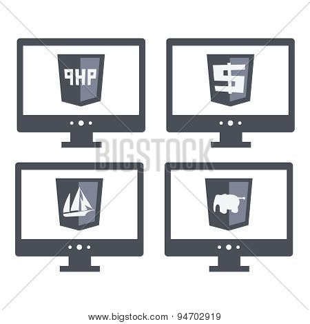 vector collection of web development shield signs php. isolated  grey icons