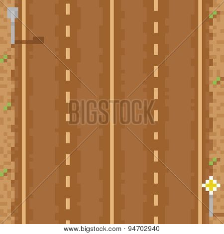 empty two way direct road six lines and signs pixel art illustration