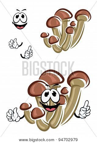 Cartoon honey agaric mushrooms character