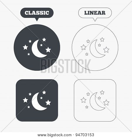 Moon and stars sign icon. Sleep dreams symbol.