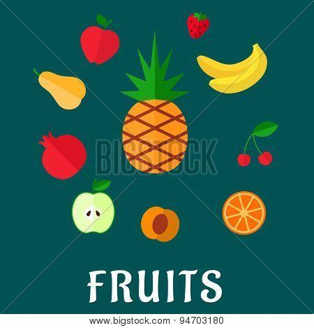 Fresh tropical and garden flat fruits set