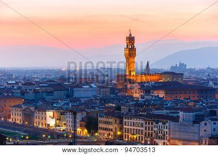 Palazzo Vecchio at sunset in Florence, Italy