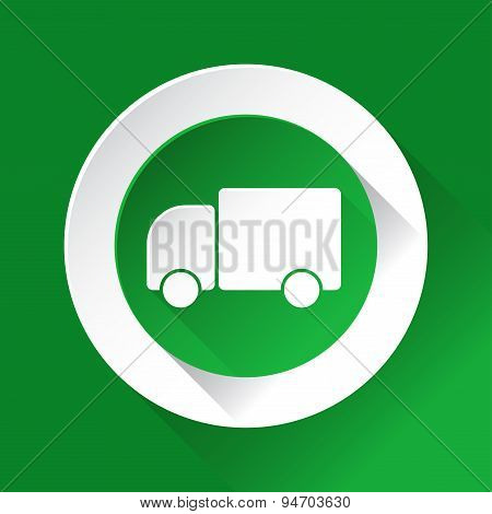 Green Circle Shiny Icon - Lorry Car