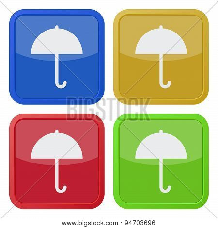 Set Of Four Square Icons With Umbrella