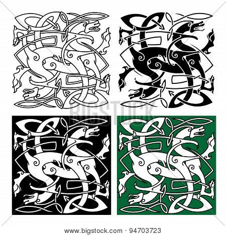 Tribal dragons with twined bodies celtic pattern
