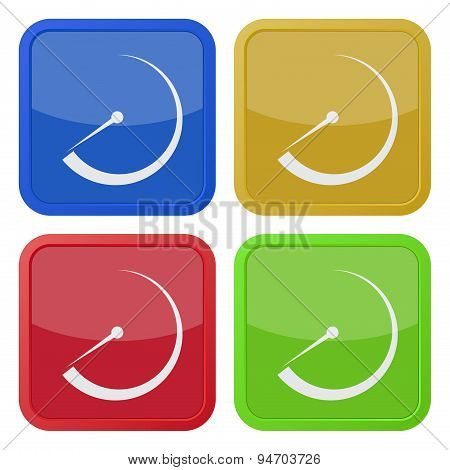 Set Of Four Square Icons With Dial Symbol