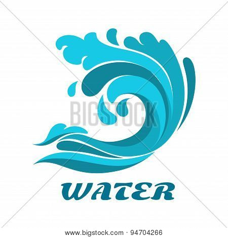 Curling ocean wave abstract symbol