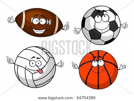 Cartoon isolated sport balls characters