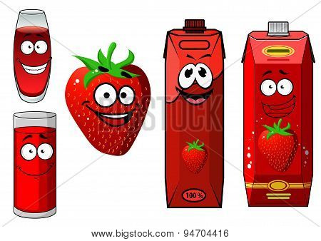 Happy strawberry juice cartoon characters