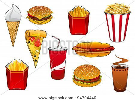 Fast food with meal and drinks