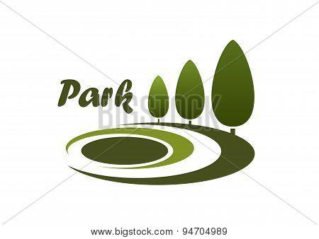 Park landscape design symbol or emblem