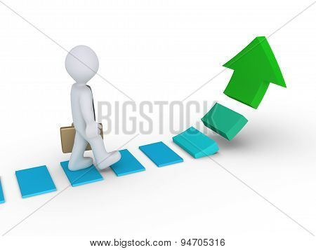 Businessman Walking On Rising Arrow