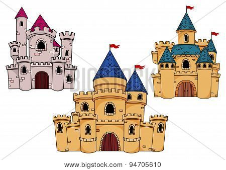Medieval castles with towers and flags