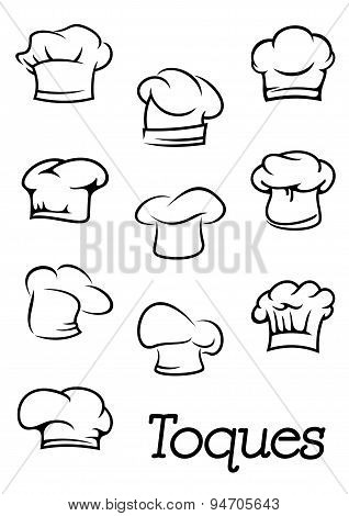 Chef and  baker isolated toques silhouettes
