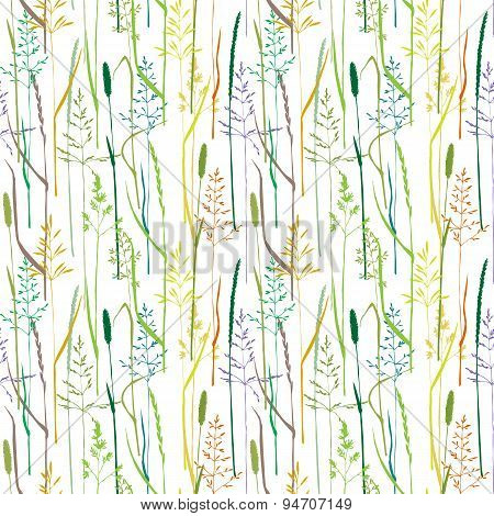 seamless pattern with grass silhouettes