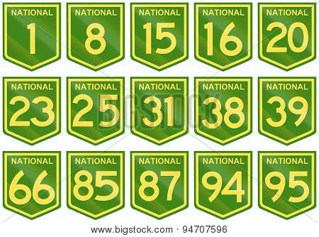 Australian National Highway Shields Number 1 To 95