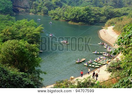 Ninh Binh, Vietnam - March 29, 2010: Ferry Is Parking At A Pier For Tourists Visiting The Trang An E