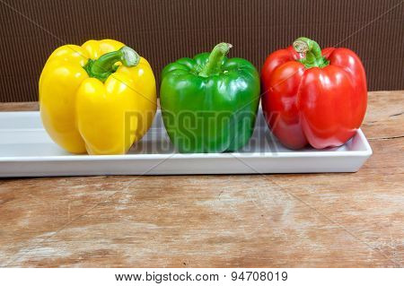 Bell Pepper Fresh Green, Red And Yellow