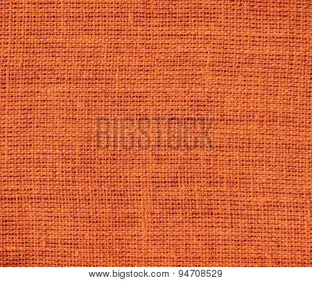 Deep carrot orange burlap texture background