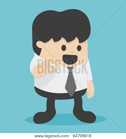 Cartoon Businessman Pointing To The Front