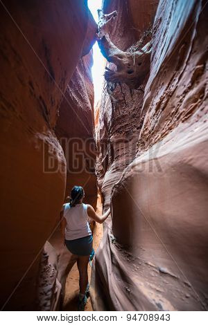 Girl Hiker Backpacker In Spooky Gulch Escalante Utah